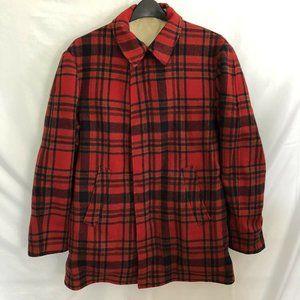 Vintage Pendleton 60s Red Plaid Wool Car Coat